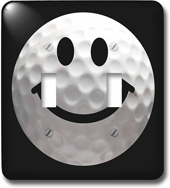 3drose Lsp 76671 2 Smiley Face Golf Ball Happy White Golfball Golfer Gift Smilie On Black Background Double Toggle Switch Switch Plates Amazon Com