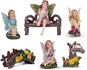 Enchanted Fairy Garden Accessories Outdoor - Fairies Leisure Time Fairy Garden Kit with Bridge & Mini Welcome Sign - Fairy Garden Supplies for Outdoor Decor and Home Decor - 6 Pcs Set