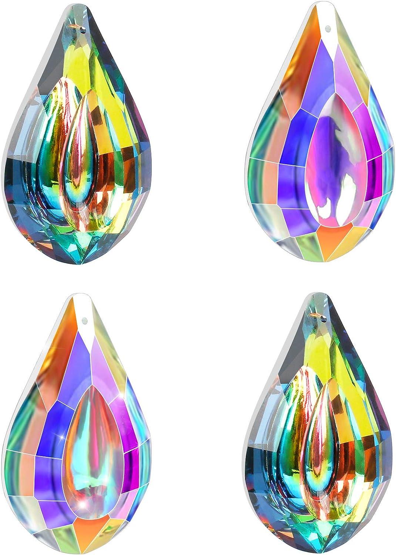 2 Estilos Cristal Prism Colgante 4 Piezas Hermosa Colgante de Bolas Crystal del Sol Colgantes de Cristal Decorativo Arco/íris para Decoraci/ón de Prisma de la Casa Fesnter