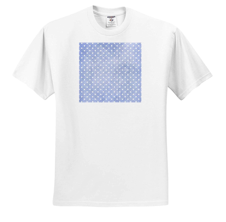 Patterns ts/_309775 3dRose Anne Marie Baugh Adult T-Shirt XL Cute White Dots On an Image of Light Blue Denim Pattern
