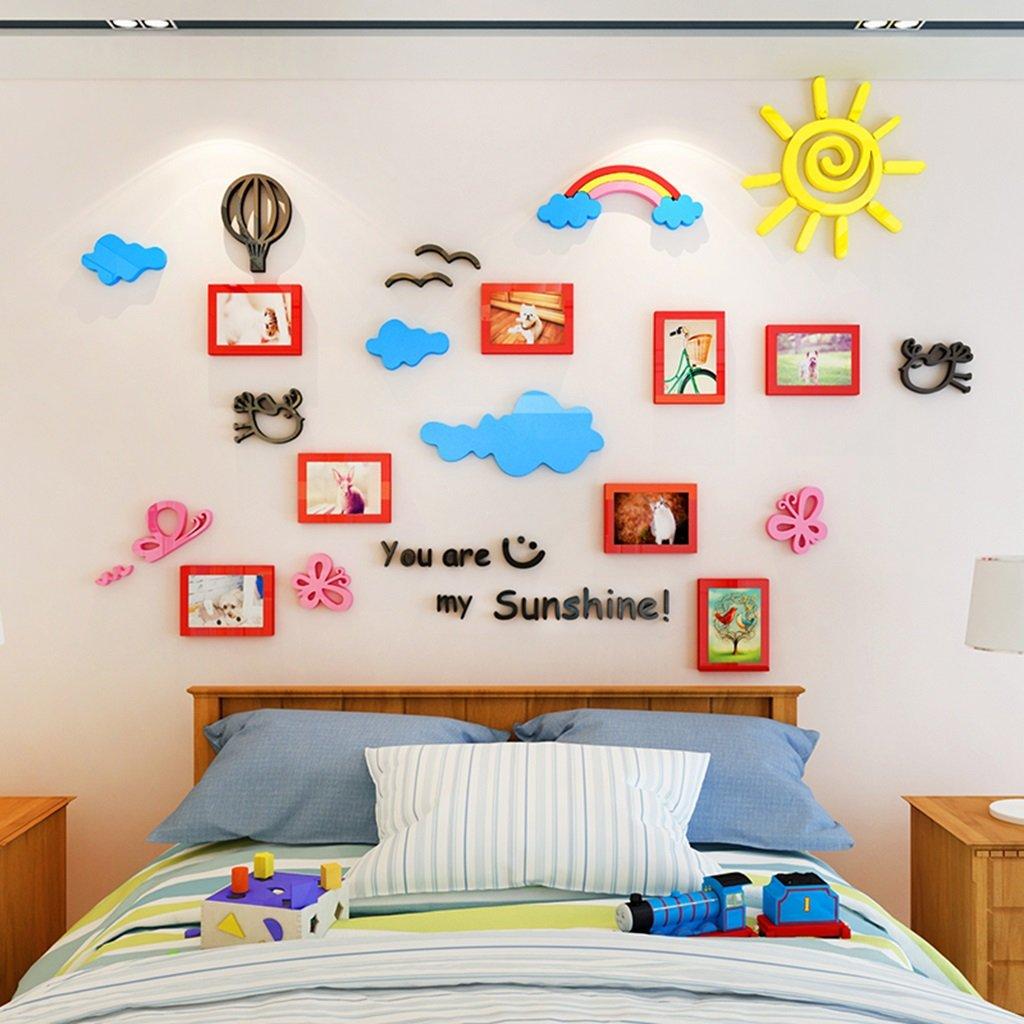 DWW-Wandsticker Regenbogen-Foto-Wand-Aufkleber Acryl 3d Aufkleber Kinderzimmer-Karikatur-dekorative umweltfreundliche wasserdichte Installation Bequem Wandsticker ( Farbe : Rot , größe : S )