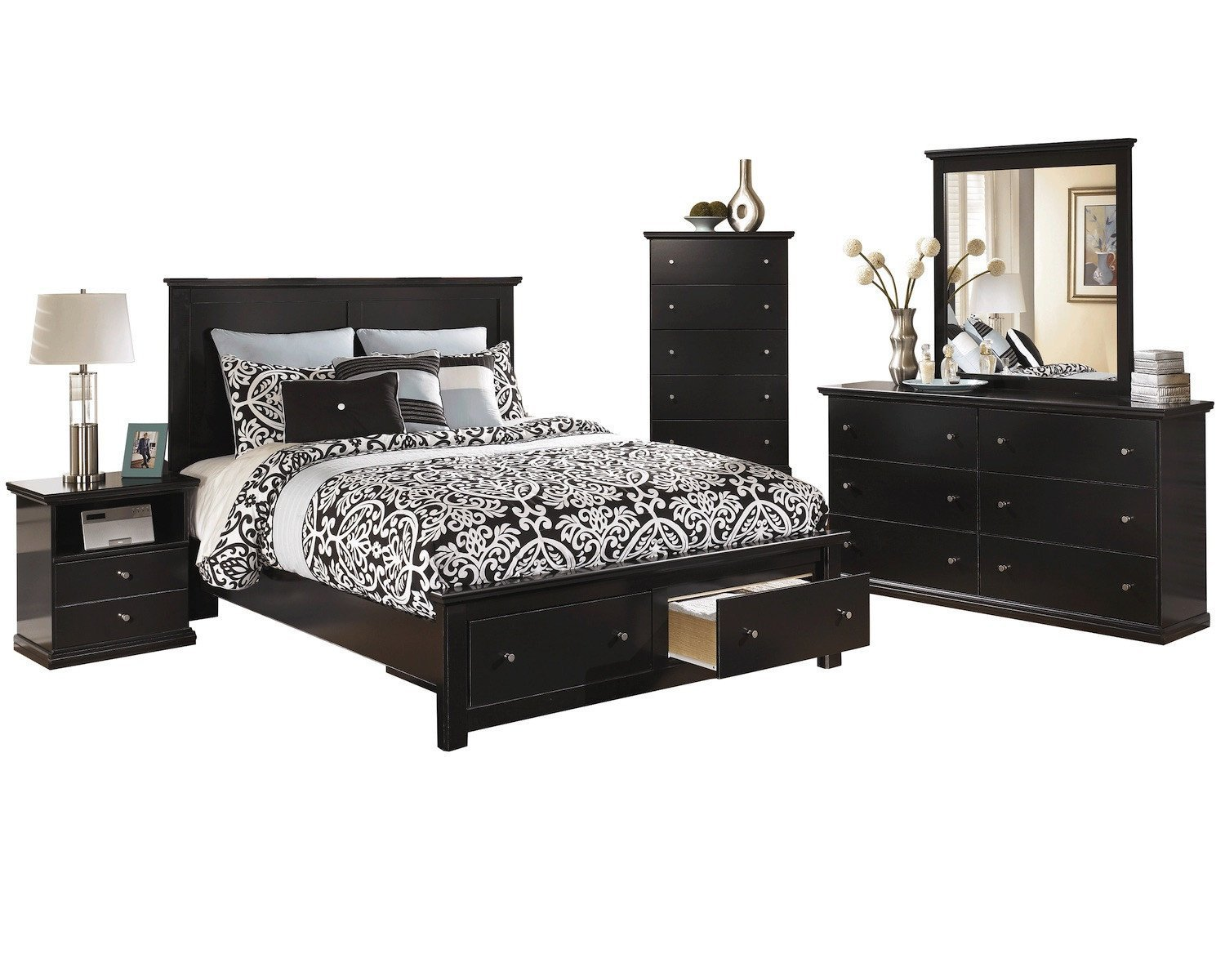 Amazon com ashley maribel 5 pc queen storage bed bedroom set with chest in black kitchen dining