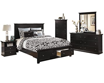 Ashley Maribel 5 PC Queen Storage Bed Bedroom Set with Chest in Black