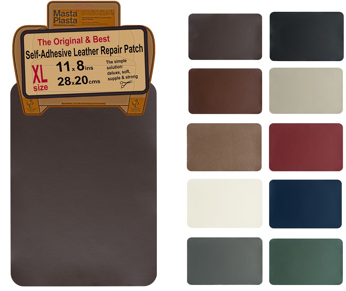 MastaPlasta, Leather Repair Patch, First-aid for Sofas Car Seats, Handbags Jackets, Plain 8-inch by 11-inch, Dark Brown