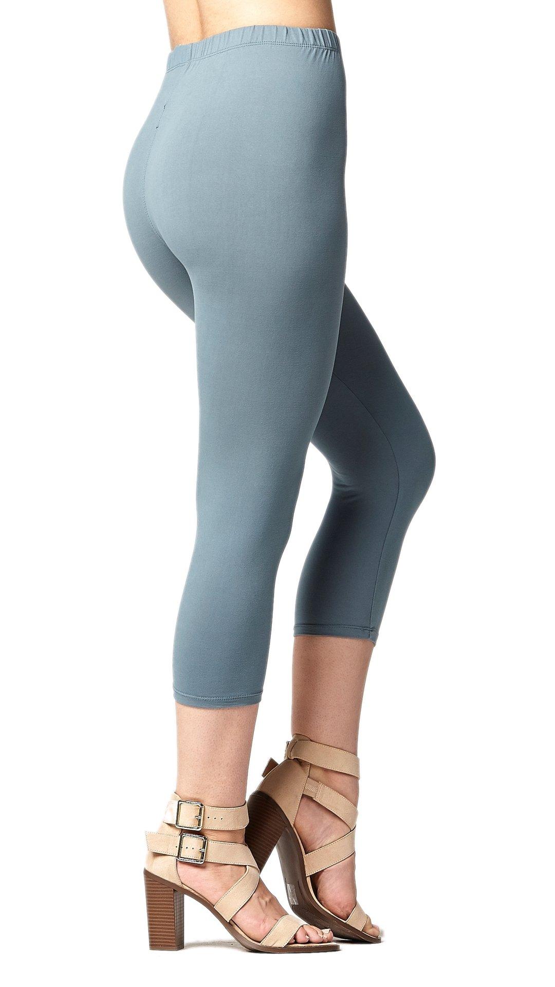 Conceited Premium Ultra Soft Women's Capri Cropped Leggings - High Waist - 20 Colors 2 Sizes Plus Size (12-24), Sea Foam