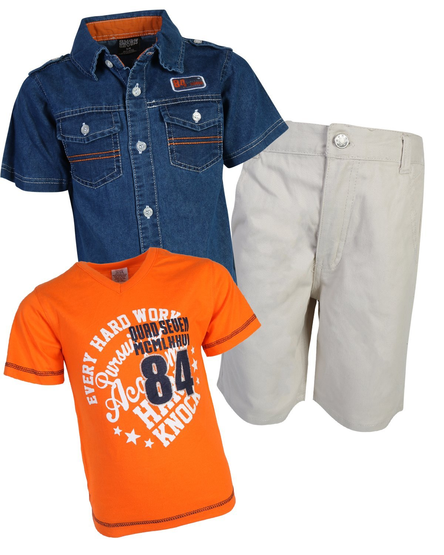Quad Seven Little Boys 3-Piece Short Sleeve Woven Shirt, T-Shirt, and Twill Short Set, Orange 84, Size 7'