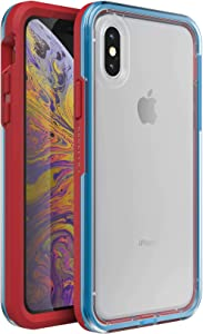 Lifeproof SLAM Series Case for iPhone X/XS (ONLY) - Retail Packaging - Varsity (Clear/Blue/Red)