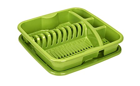 e0d0480b12b7 Rotho Geometric Kitchen Dish Drainer, Polypropylene, Green, One Size ...