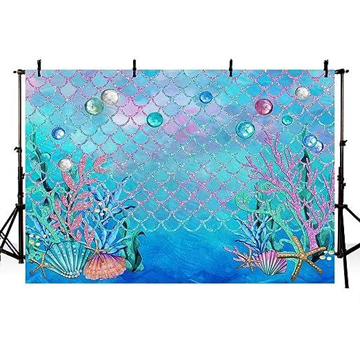 MEHOFOTO - Fondo de fotografía para fiestas, bajo el mar, azul, océano, sirena, fiesta de cumpleaños, decoración para fiestas, fondo marino, baby ...