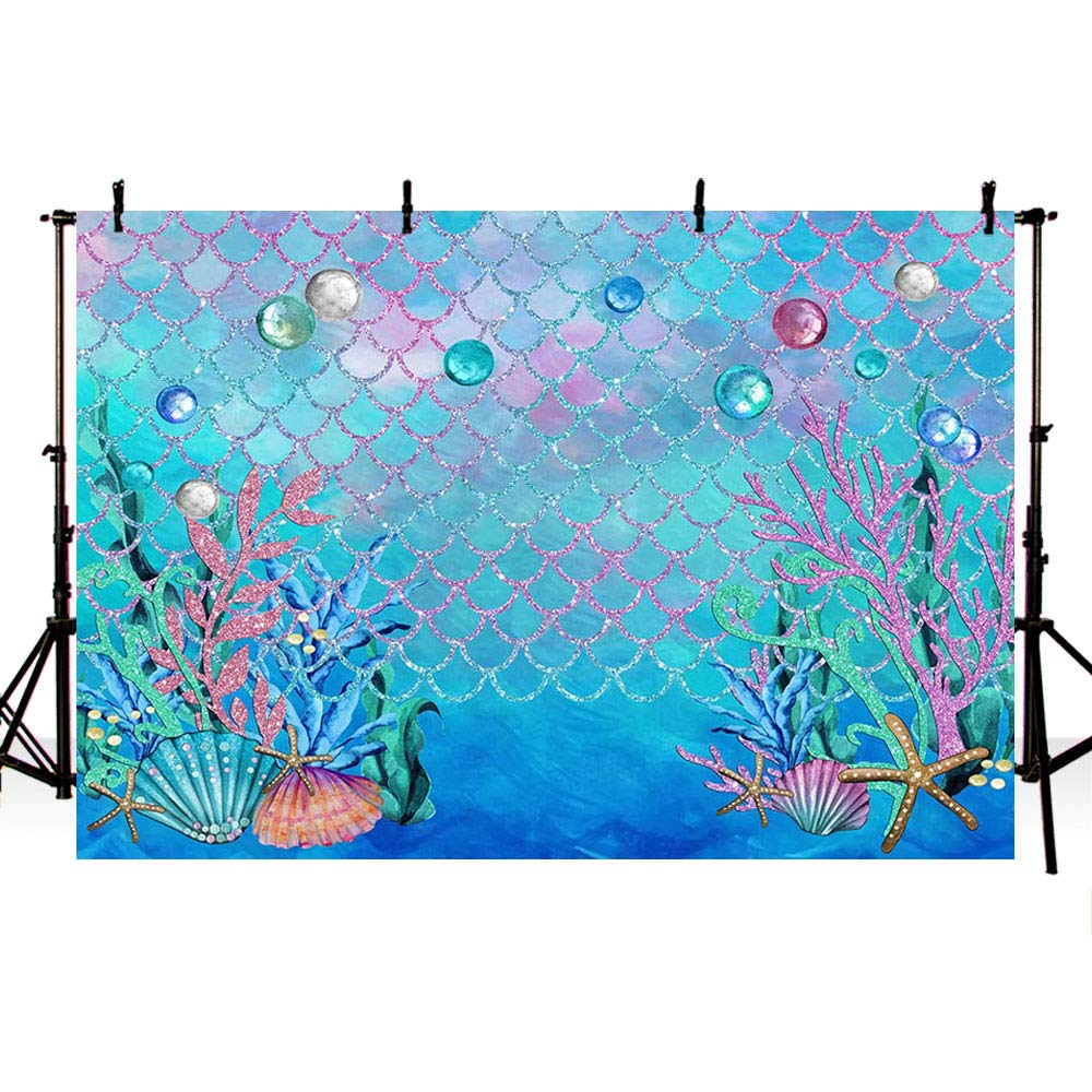 MEHOFOTO 7x5ft Under The Sea Blue Photography Backdrop Ocean Mermaid Theme Girl Birthday Party Decoration Pearls Starfish Shell Ocean Theme Baby Shower Photo Studio Booth Background Banner