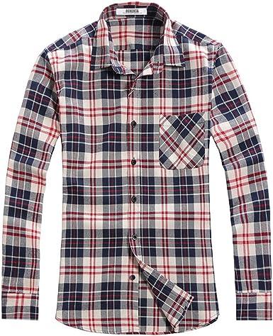 OCHENTA Camisa de franela de manga larga para hombre: Amazon.es: Ropa y accesorios