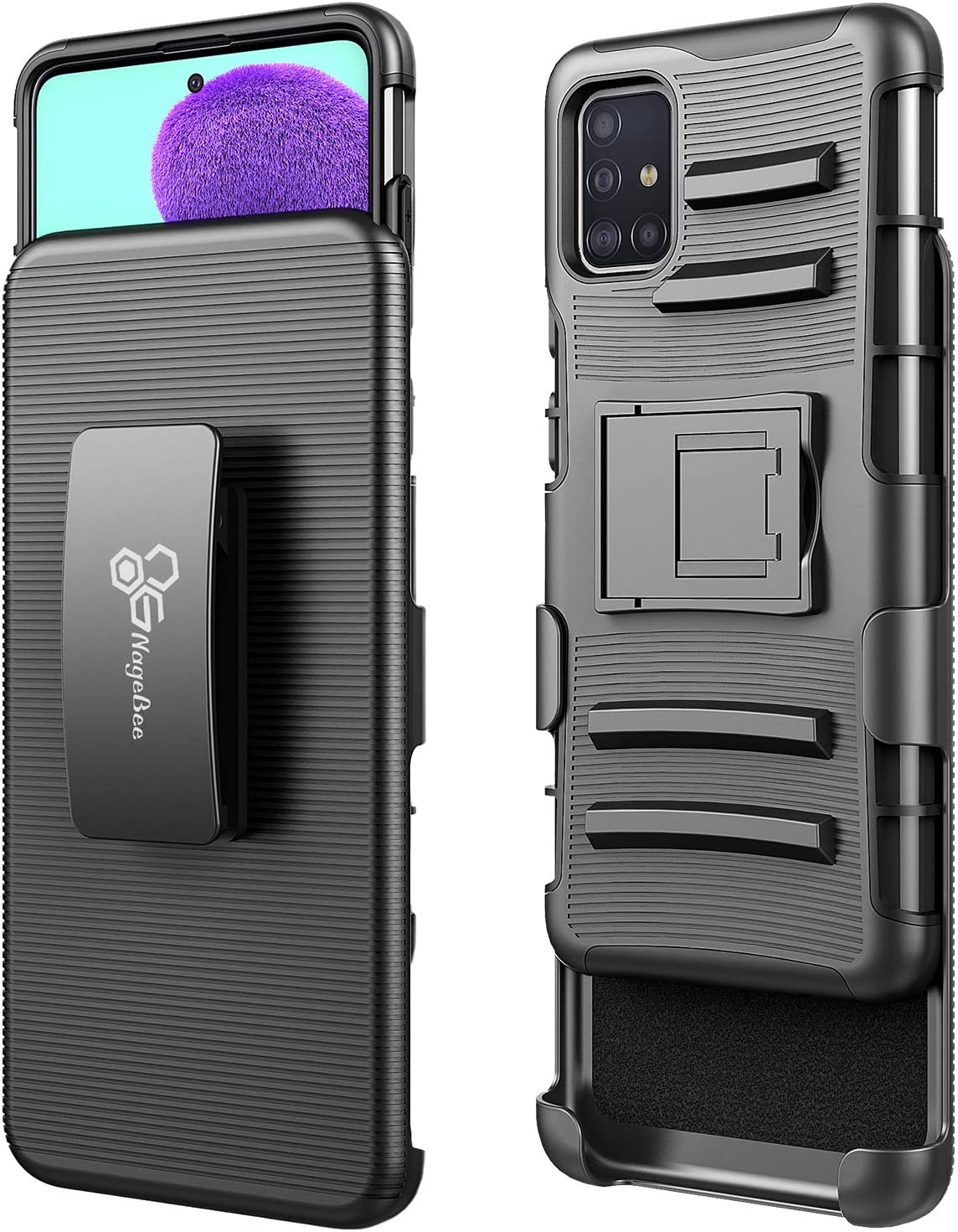 Not Fit A71 4G Black Full Coverage with Tempered Glass Screen Protector E-Began Case for Samsung Galaxy A71 5G Belt Clip Holster w//Kickstand Heavy Duty Armor Defender Shockproof Rugged Case