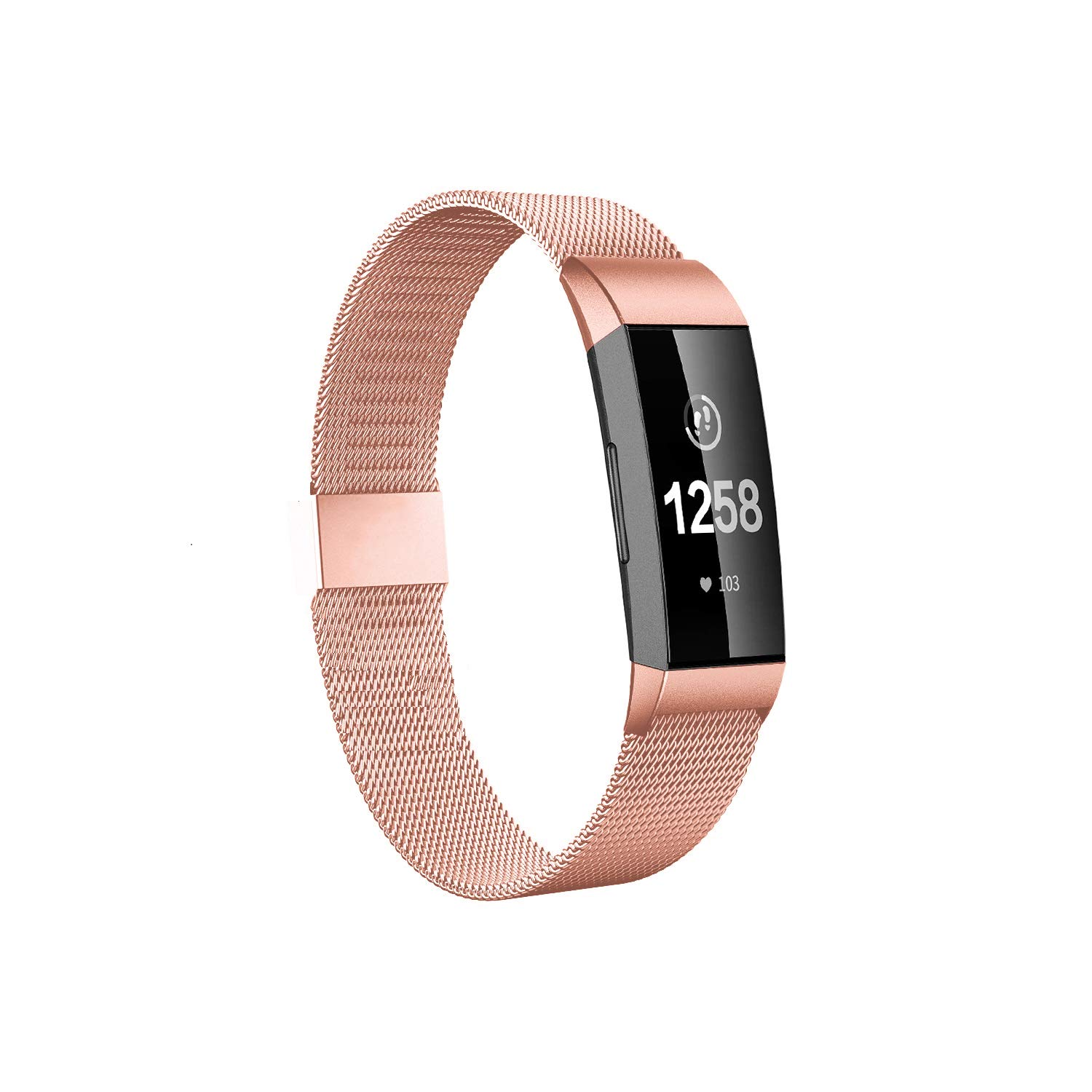 Fitlink Stainless Steel Bands Replacement for Charge 3 and Charge 3 SE for Women Men,Multi Color Multi Size (Original Rose Gold, Large(6.1 ''- 9.9''))