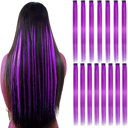15Pcs Extensiones de cabello lacio de color morado Clip en 20 pulgadas Clip sintético morado en extensiones de cabello Destacados para fiestas Clip ...