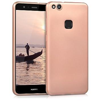 kwmobile Funda para Huawei P10 Lite - Carcasa para móvil en [TPU Silicona] - Protector [Trasero] en [Oro Rosa Metalizado]
