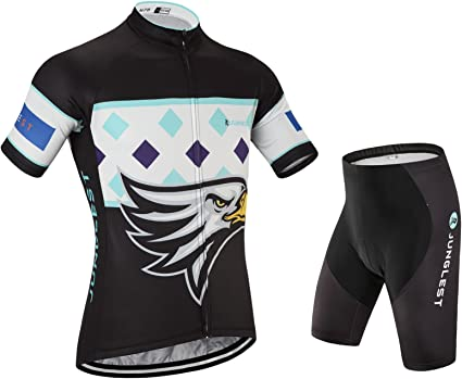 JUNGLEST Womens cycling jersey and shorts set,short sleeve with 3D Pad