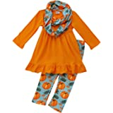 So Sydney Toddler Girls 3 Pc Halloween Fall Tunic Top Leggings Outfit, Infinity Scarf