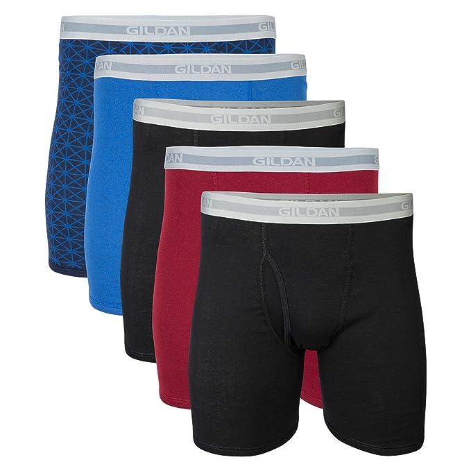 GILDAN Men's Regular Leg Boxer Brief 5 Pack, Medium, Mixed Blue/Grey