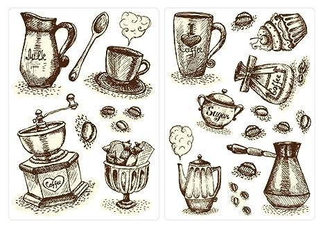Pegatina de Pared Cocina Etiqueta de la Pared Set Tazas de café y café cubertería Etiqueta
