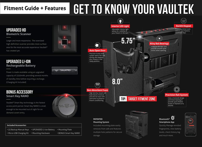 Vaultek Slider Series Rugged Bluetooth Smart Handgun Safe Quick ...
