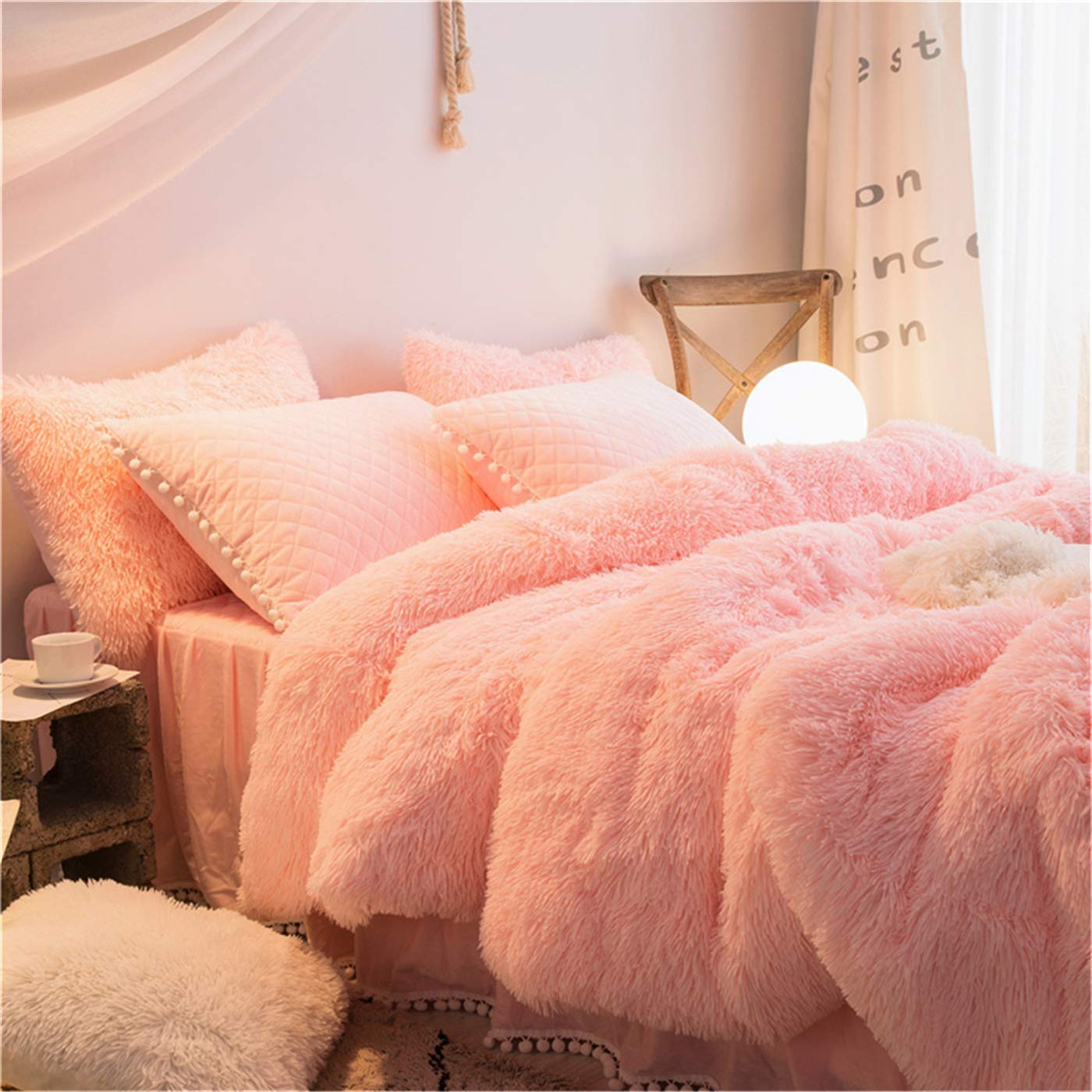 MooWoo 1 PCS Super Soft Shaggy Plush Flannel Duvet Cover, Faux Fur Fluffy Bedding, Zipper Close and Ties, No Inside Filler (Pink, Queen)