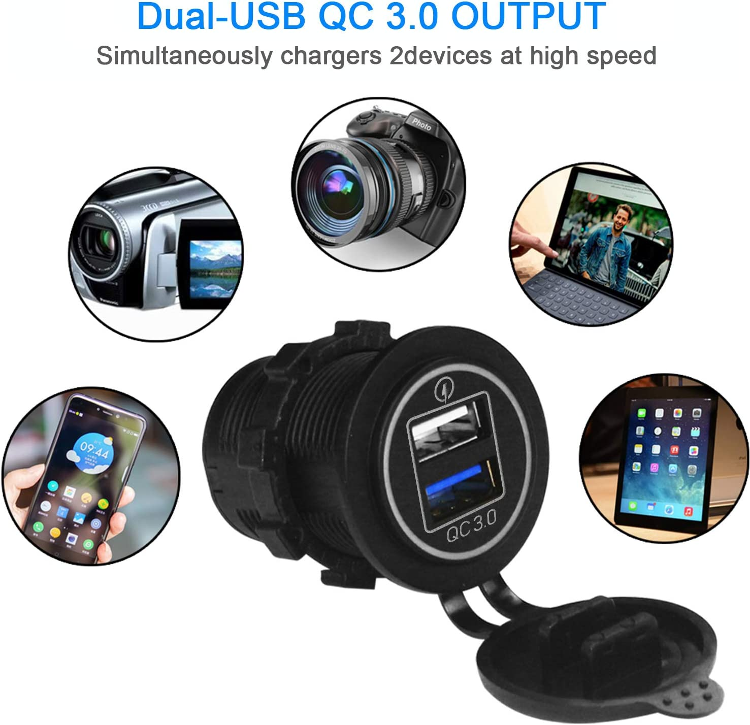 Dual USB Charger Socket Power Outlet 4.2A-Green 2.1A /& 2.1A for Car Boat Marine Mobile with Wire Fuse DIY Kit