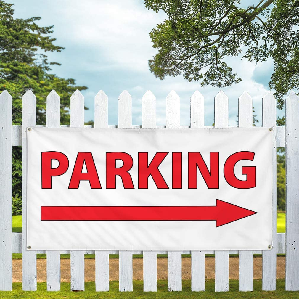 Vinyl Banner Multiple Sizes Parking Arrow Right Business Business Outdoor Weatherproof Industrial Yard Signs White 8 Grommets 48x96Inches