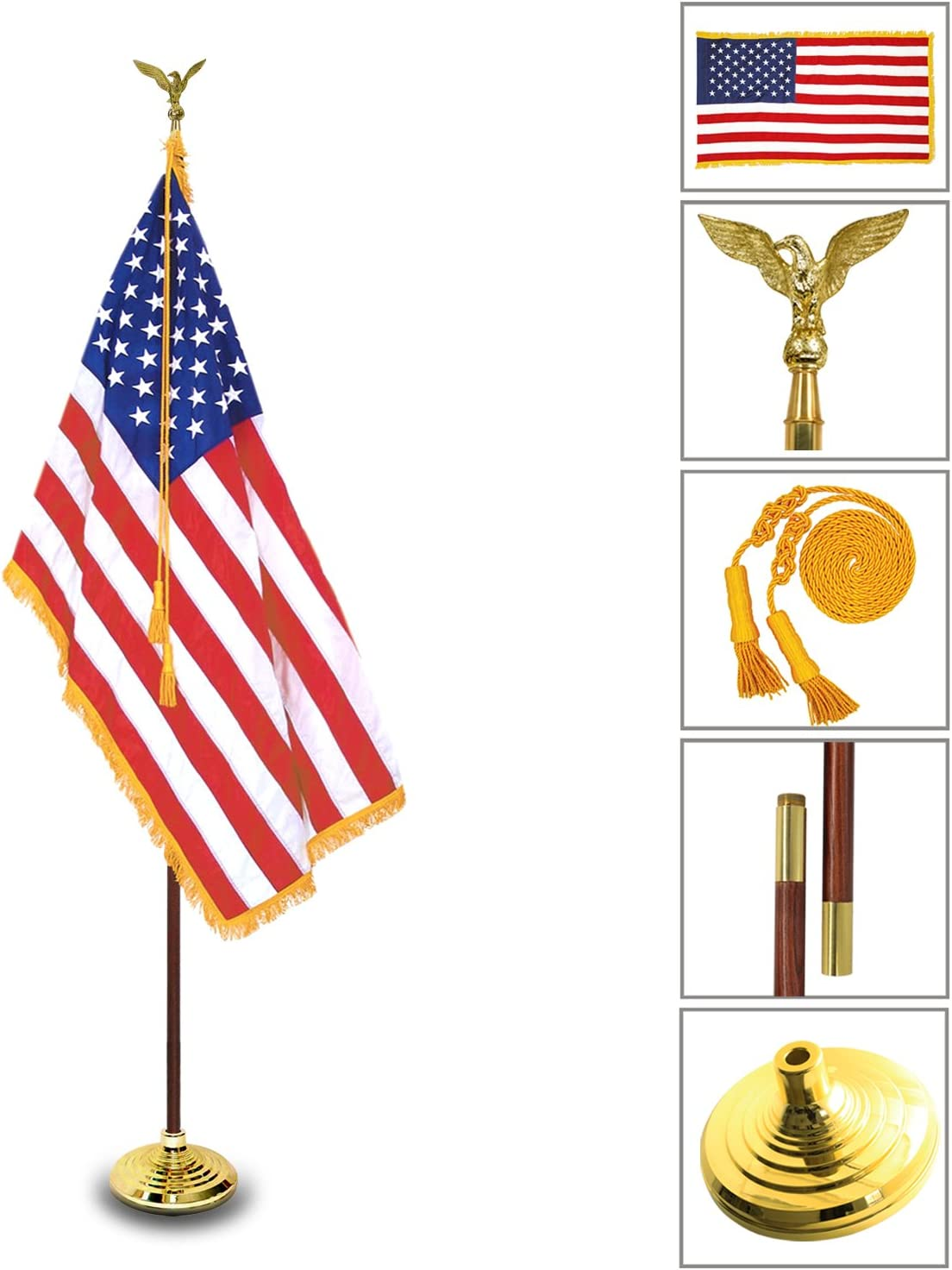 Anley 8 Ft Presidential Deluxe Indoor USA Flag Pole Set - 8' Oak Pole, Gold Fringed US Flag, Stand, Cord Tassel and Eagle Top Ornament for Offices, Schools, Churches & Auditoriums 8 Foot High