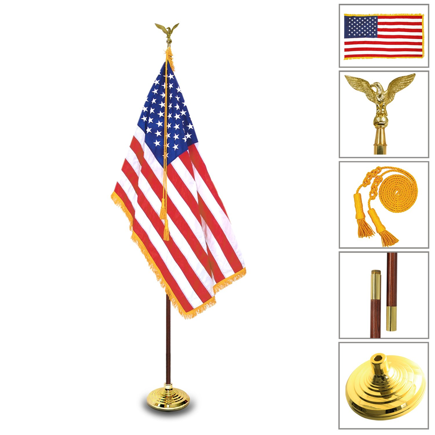 Anley 8 Ft [Presidential Deluxe] Indoor USA Flag Pole Set - 8' Oak Pole, Gold Fringed US Flag, Stand, Cord Tassel and Eagle Top Ornament for Offices, Schools, Churches & Auditoriums 8 Foot High