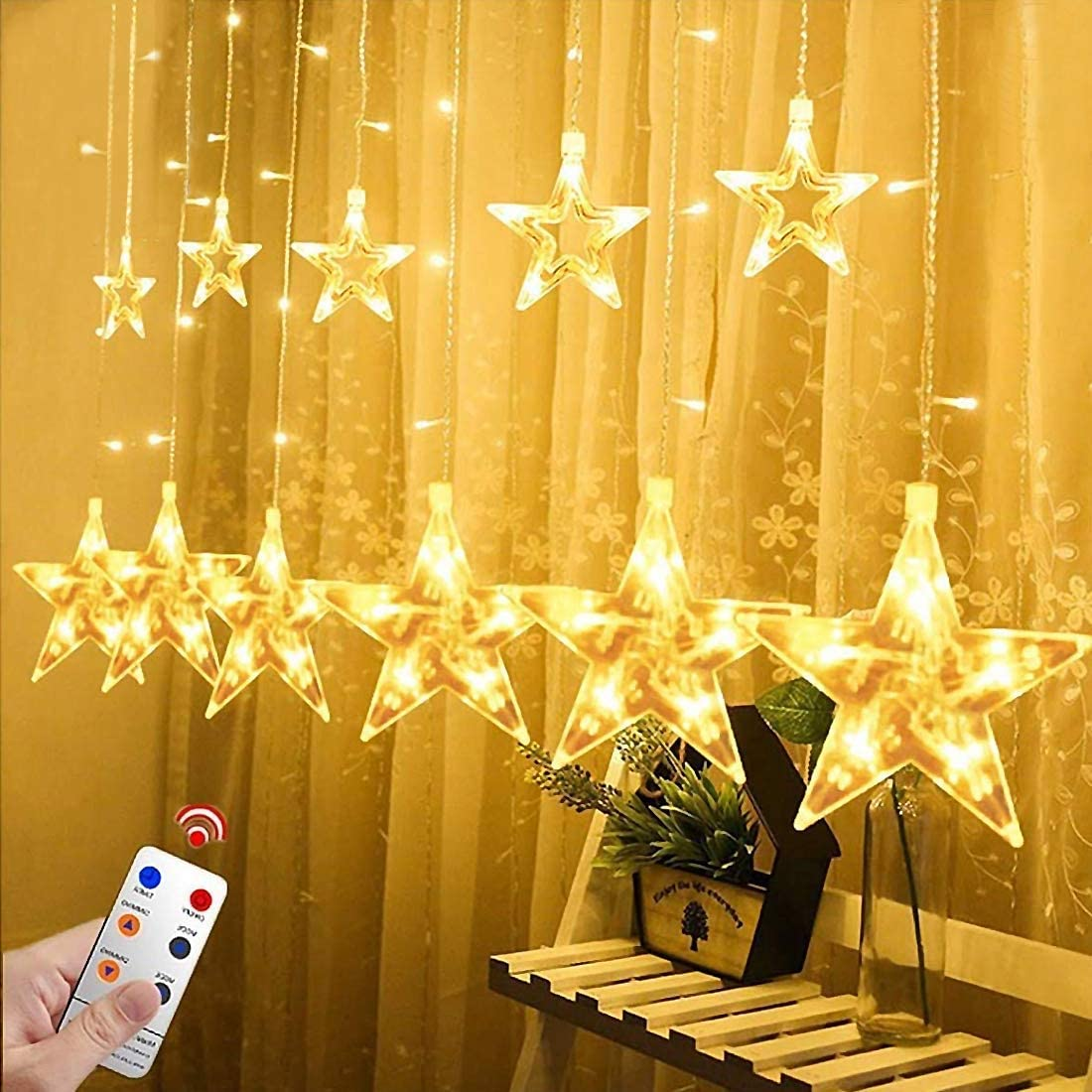 Amazon Com Star Lights Star String Lights For Bedroom Twinkle Lights Led Window Curtain String Light With 12 Stars 138 Leds 8 Modes For Xmas Wedding Party Garden Valentine S Day Outdoor Indoor Wall Decors