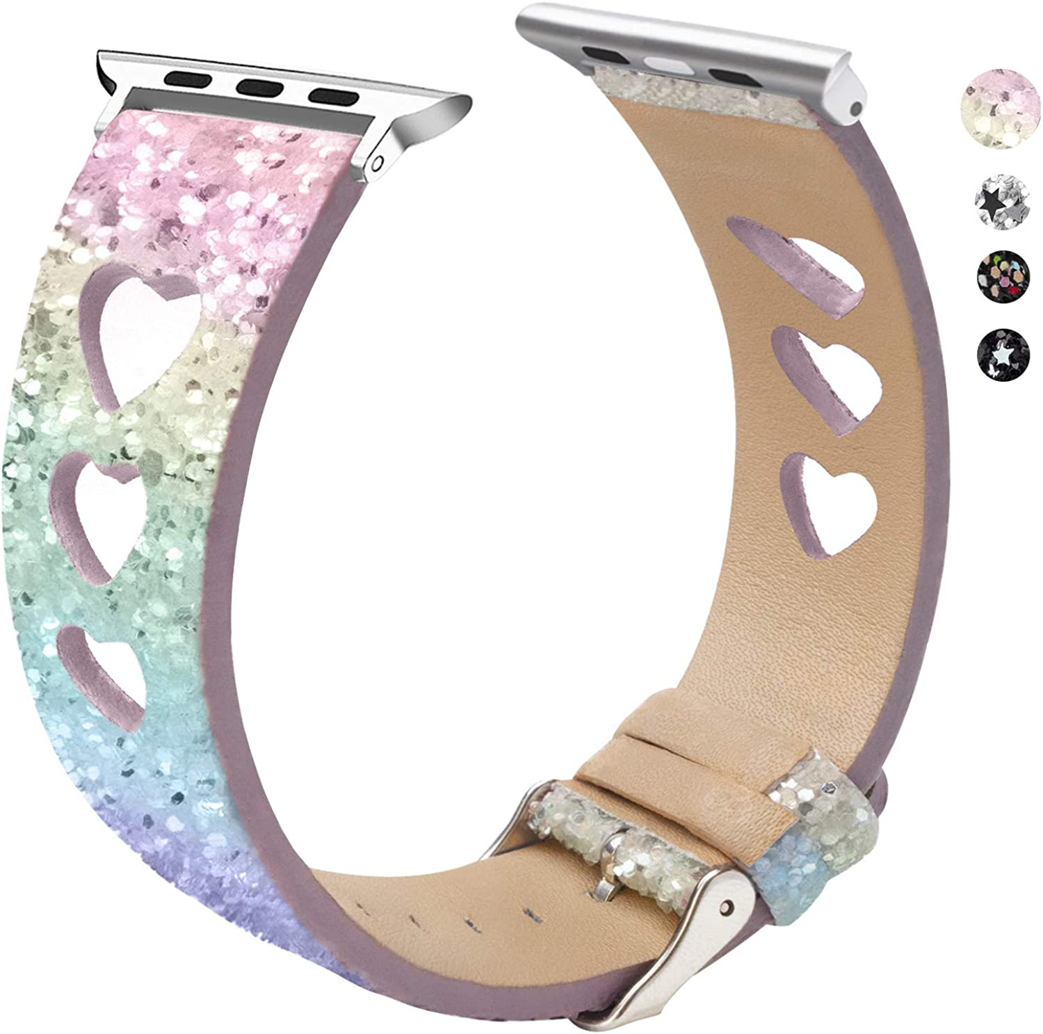 EurCross Glitter Band Compatible with Apple Watch Band 38mm 40mm 42mm 44mm, Shiny Bling Women Girls Leather Wristband Compatible with iWatch Series6 SeriesSE Series5 Series4 Series3 Series2 Series1