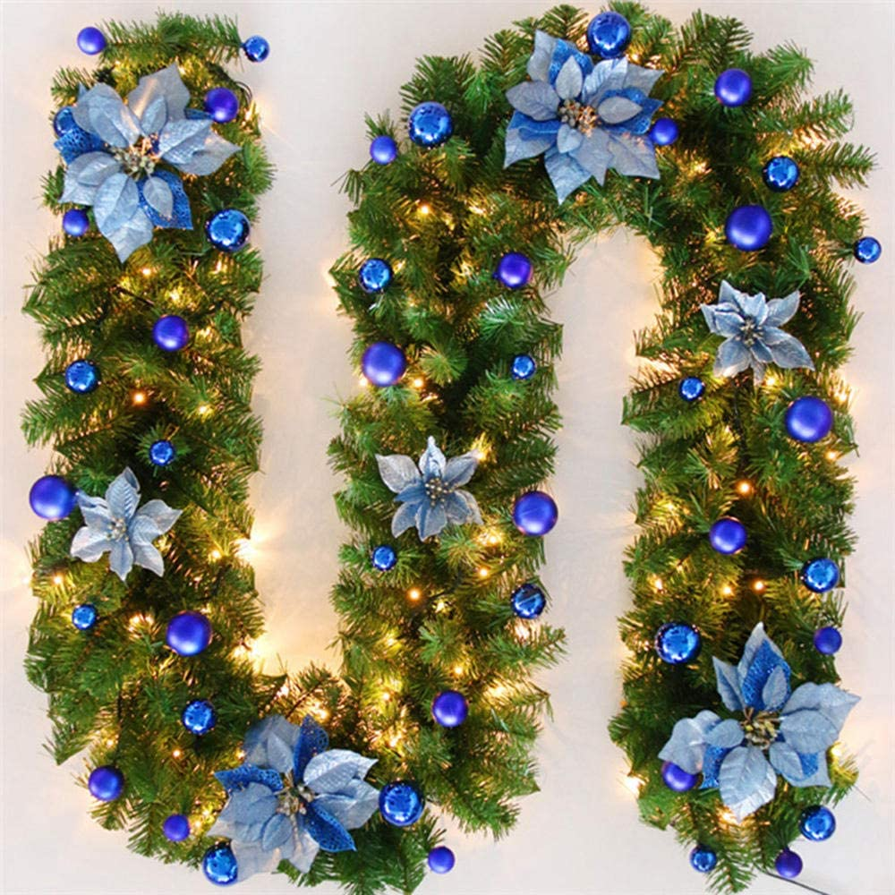 Christmas Wreath Led Rattan Garland Decoration Green Artificial Flower Rattan Artificial Plastic Indoor And Outdoor Battery Powered A