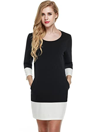 Meaneor Womens Color Block Patchwork 34 Sleeve Shift Dress With