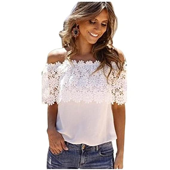 Longra❤ღ☀Mujeres Off Top Casual Top Blusa Encaje de Ganchillo Chiffon Camisa (