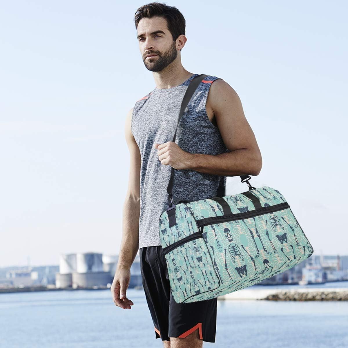 MALPLENA Cool Man Skull Pattern Packable Duffle Bag For Men Women Tear Resistant Sports Duffle