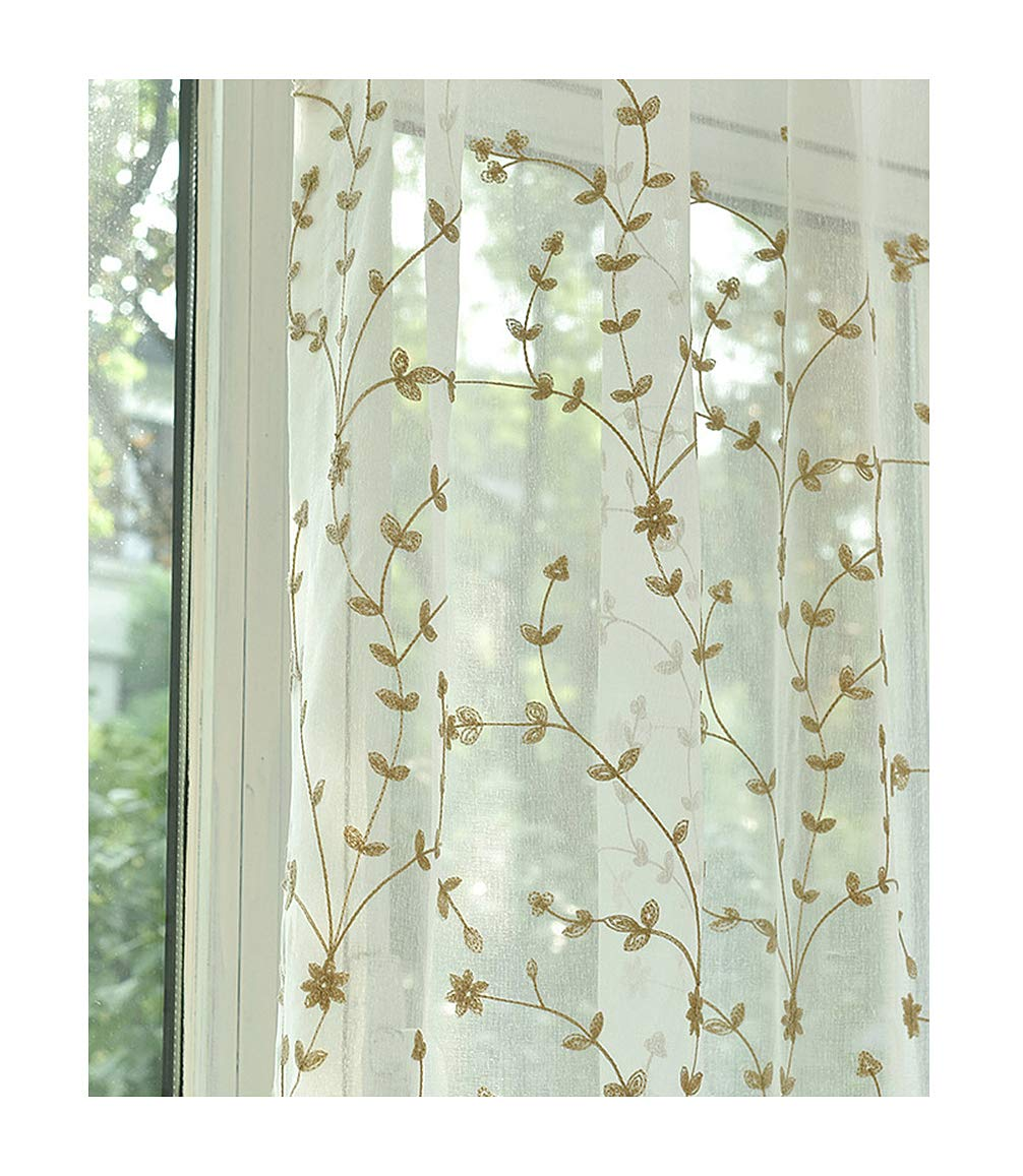 ASide BSide Nature Design Vine Embroidered Sheer Curtains Rod Pocket Top Breathable Window Decoration For Sitting Room Houseroom and Child Room (1 Panel, W 52 x L 63 inch, Coffee)
