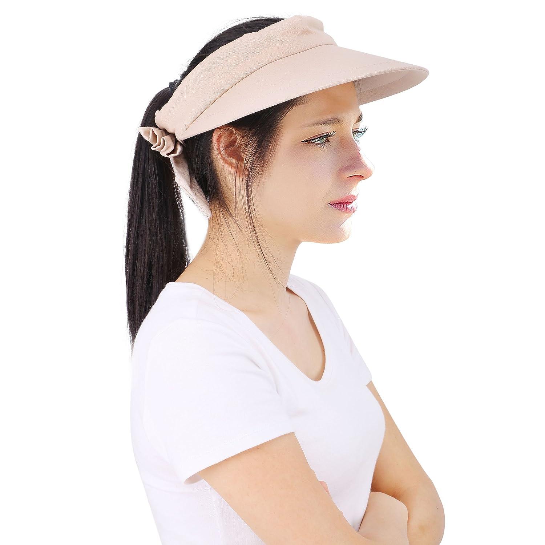 a28e6def0c4 Amazon.com   YoungLove Women s Wide Brim SPF 50+ UV Protection Sun Visor  Hat