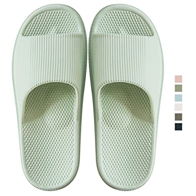 6ec655e7 ... Unisex Slippers for Women/Men Non-Slip Light Weight with Massage Point  Flat Slide Sandals Soft House Slippers for Indoor Home Bathroom Poolside,8  Colors