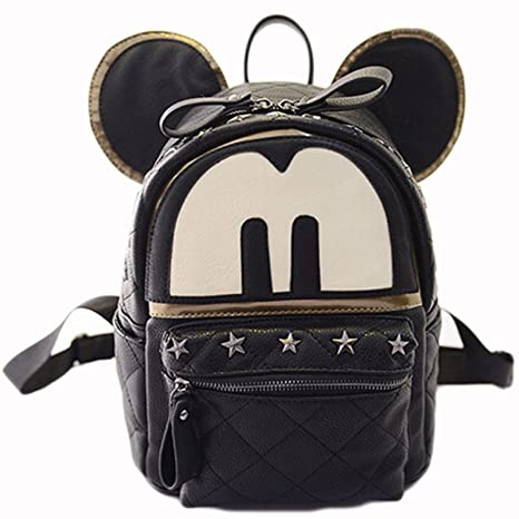 Amazon.com: Fashion Cartoon Mickey Mouse Rivet High Capacity Backpack Travel Bag for Teens Girls Womens (Black): Computers & Accessories