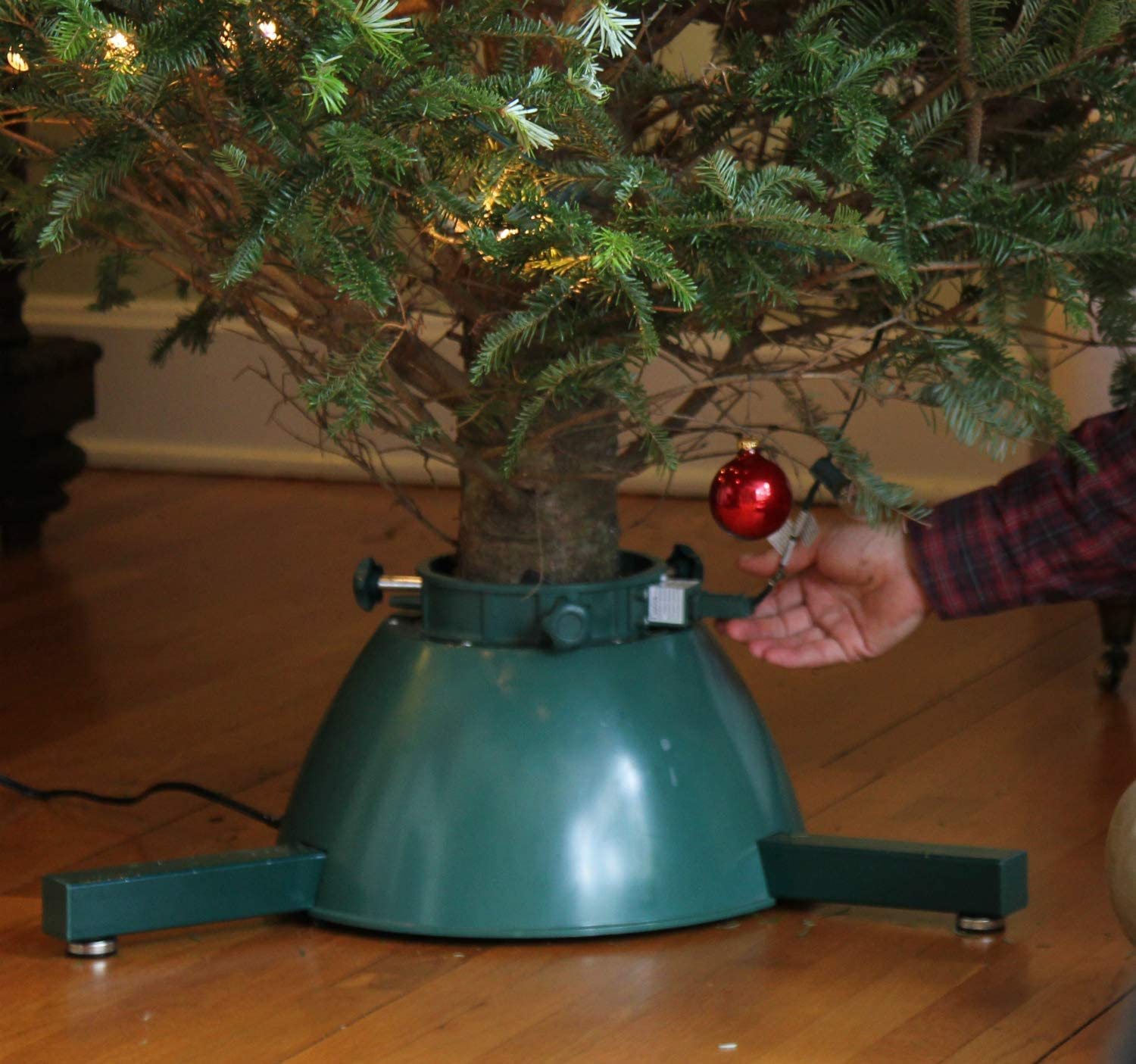 Elf Logic - Rotating Christmas Tree Stand for Live Tree with Remote Control for Rotation and Lights - (Motorized Rotating Display Tree Stand for Live Christmas Trees)