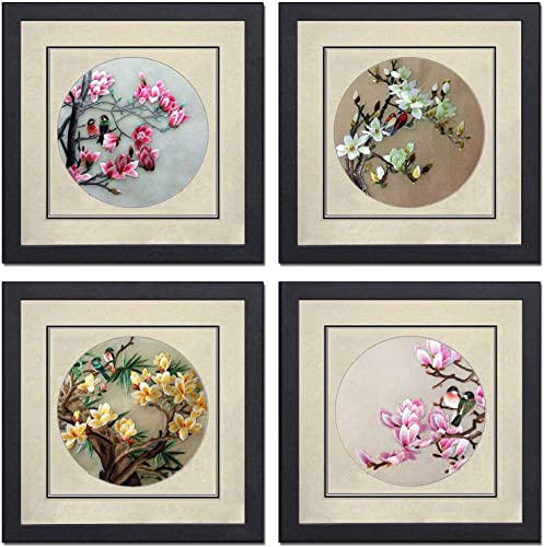 Silk Art 100 Hand Embroidery Framed Mixed Group Love Birds on Trees Chinese Print Wildlife Bird Painting Anniversary Wedding Party Gifts Oriental Asian Wall Art 35021WF 35022WF 35023WF 35024W