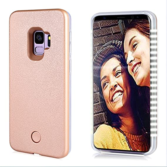 online store 8774f 75fad Vanjunn Samsung S9 Case Selfie Light Up LED Illuminated Case Cover for  Galaxy S9 Rose Gold