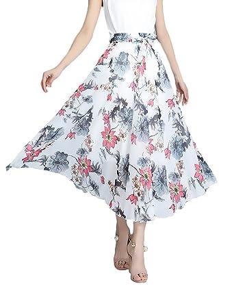 Battercake Faldas Largas Mujer Verano Vintage Moda Gasa Flores ...