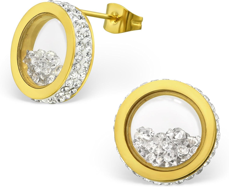 Laimons Pendientes para mujer Anillo relleno y decorado Dorado brillante Brillante acero inoxidable