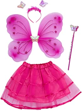 Rosa Copricapo Farfalla per Ragazze Surfiiy Costume da Fata Farfalla per Bambina LED Costume Farfalla con Ali di Farfalla e Bacchetta Magica 3 Pezzi