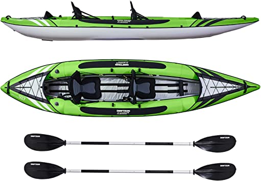 Driftsun Almanor Inflatable Recreational Touring Kayak With Eva Padded Seats With High Back Support Includes Paddles Pump 1 Person 2 Person 2