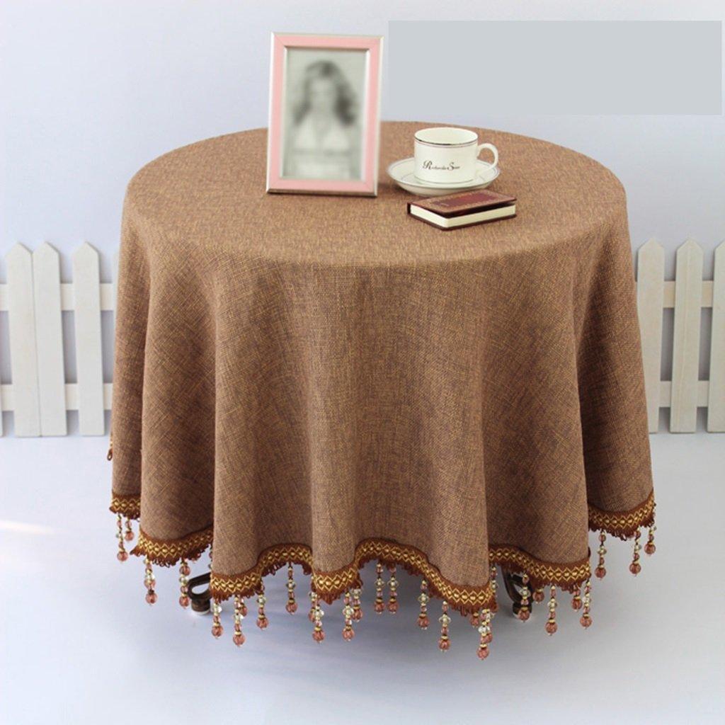 Brown D130 cm L&Y Printing Tablecloth Fashion Printing Home Pastoral Coffee Table Cloth Printing Tablecloth Lattice Tablecloth Tablecloth Table Cloth Tablecloths Table Cover (color   BROWN, Size   D130 cm)