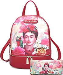 Frida Kahlo Licensed Backpack and Wallet Set, Floral and Bird Collection