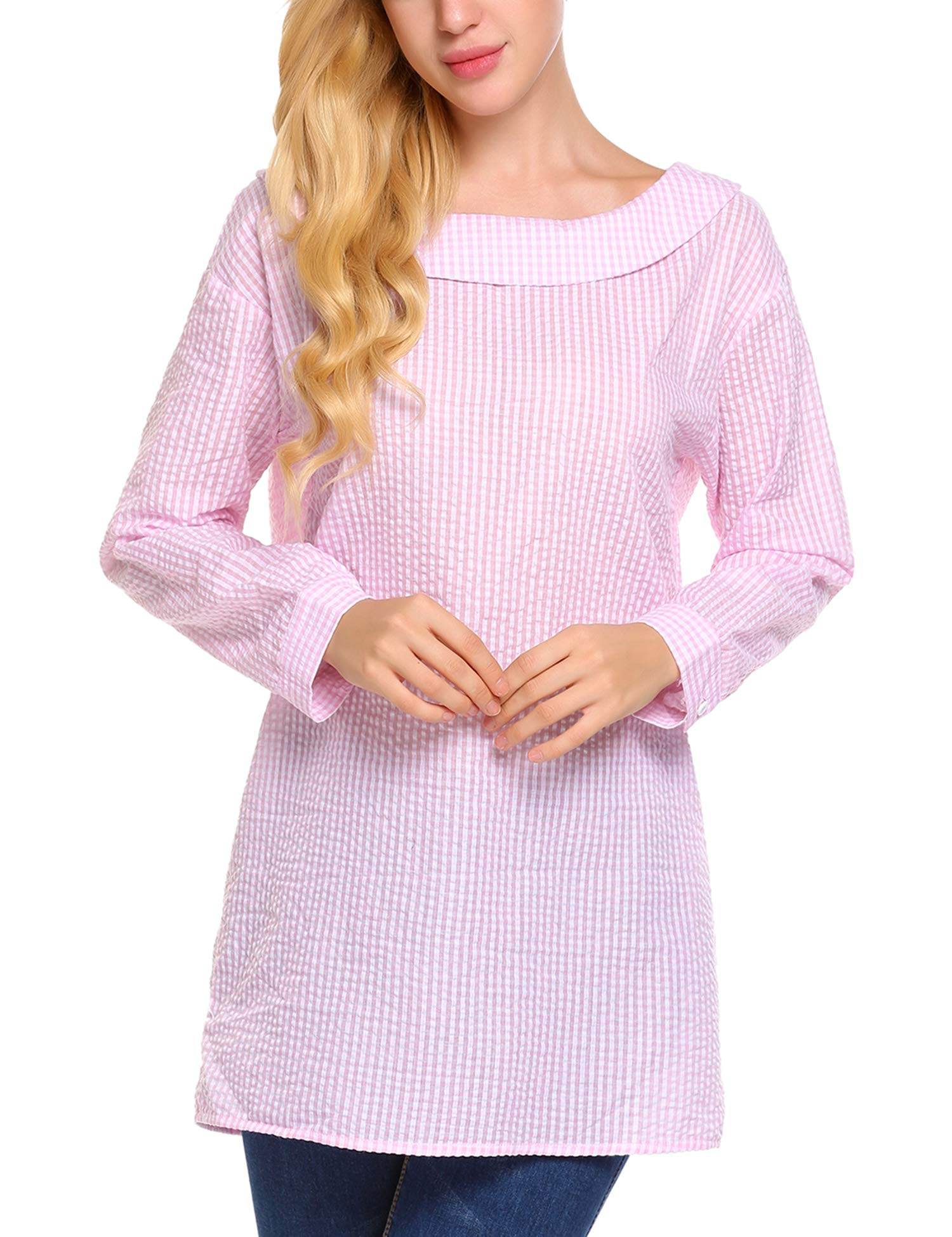 d960c4f7ec6d60 Venena Women's Boatneck Collared Long Tunic Top Shirt(Pink,Large)