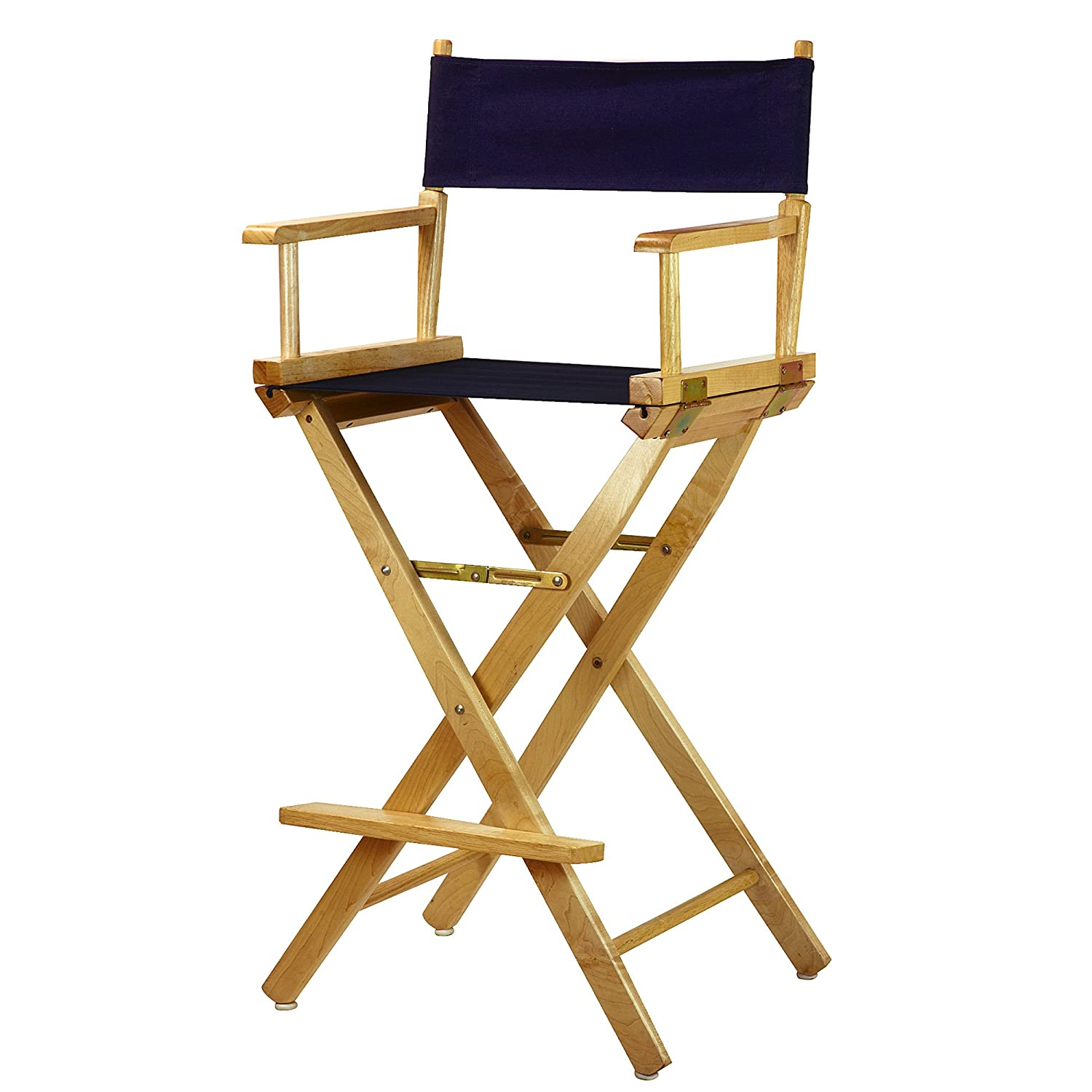 Navy bluee 30-Inch Casual Home 30-Inch Director Chair Natural Frame, Black Canvas